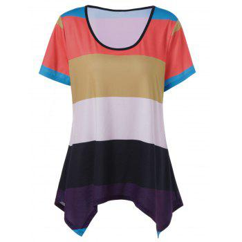 Plus Size Striped Asymmetrical Ringer T-Shirt