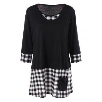 Plus Size Single Pocket Plaid Longline T-Shirt