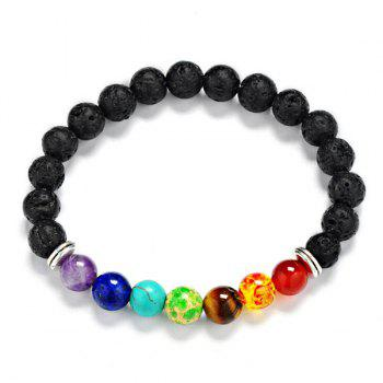 Artificial Gem Lava Stone Beads Bracelet