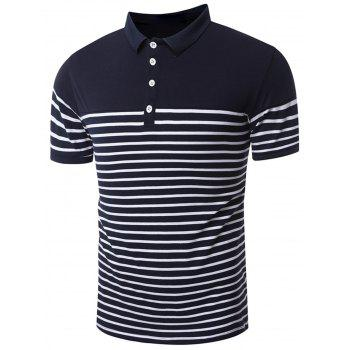 Slim Fit Stripe Polo Shirt - DEEP BLUE L