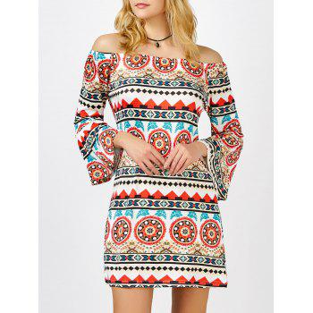 Off The Shoulder Printed Bell Sleeve Shift Aztec Print Dress