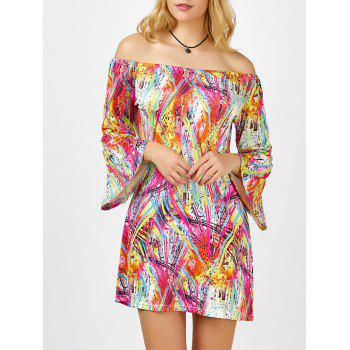Colorful Printed Off The Shoulder Mini Dress