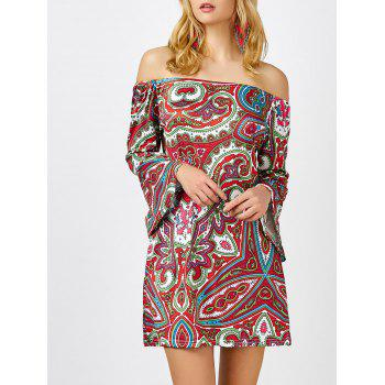Printed Off The Shoulder Mini Shift Dress