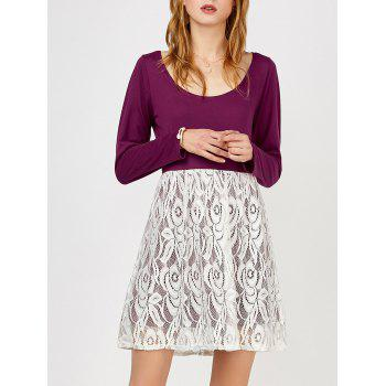 Lace Insert Long Sleeves Dress