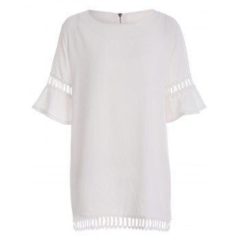 Plus Size Bell Sleeve Hollow Out Tunic Top