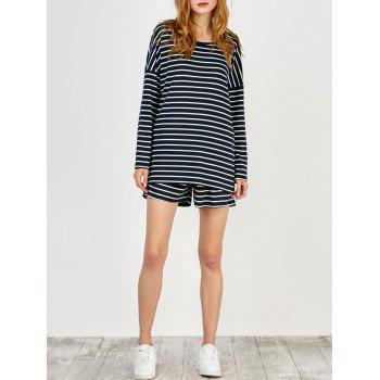 Striped Loose Tee and Shorts Twinset