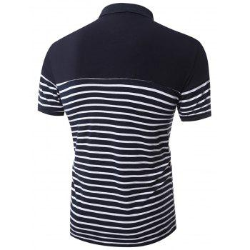 Slim Fit Stripe Polo Shirt - DEEP BLUE DEEP BLUE