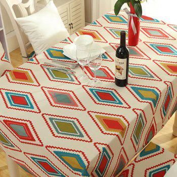 Rectangular Rhombus Print Washable Table Cloth