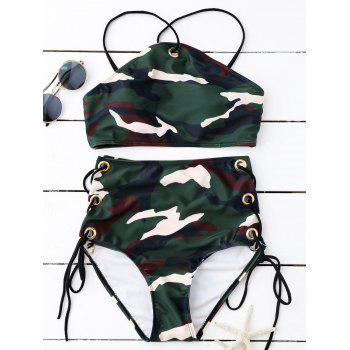 High Neck Camo High Waisted Bikini