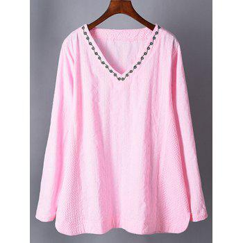 V Neck Embroidered Plus Size Top