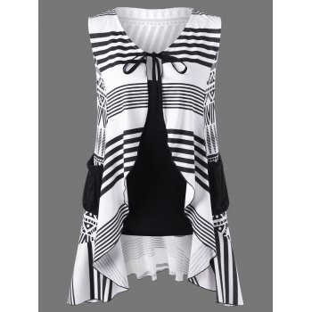 Tie Front Geometric Blouse and Tank Top