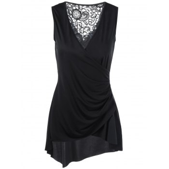 Sleeveless Lace Trim Asymmetrical Surplice Blouse