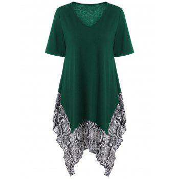 Plus Size Floral Trim Asymmetrical Longline T-Shirt