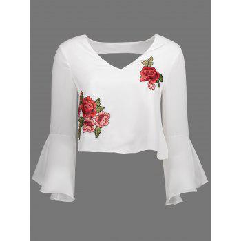 Bell Sleeve V Neck Embroidered Top