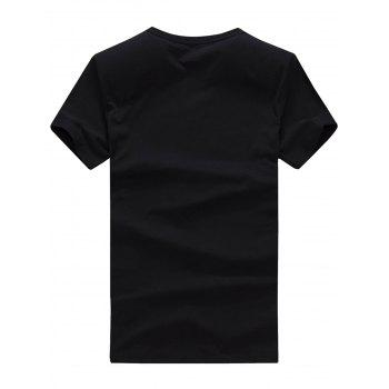 Short Sleeve Beard Print T-Shirt - BLACK BLACK