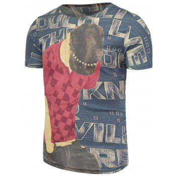 Letters and Male Pattern T-Shirt - COLORMIX 4XL