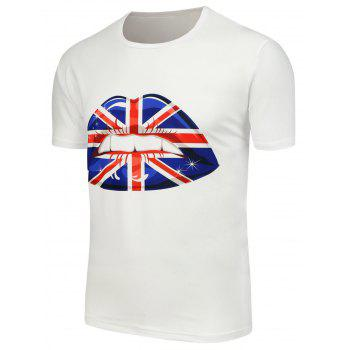 3D Flag Mouth Printing T-Shirt