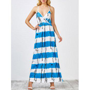Crisscross Stripe Open Back Maxi Slip Dress
