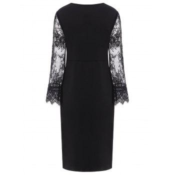 Lace Insert Long Sleeve Plus Size Surplice Dress - Noir 2XL