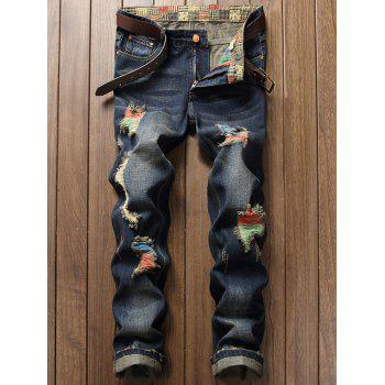Colored Distressed Zipper Fly Cuffed Jeans