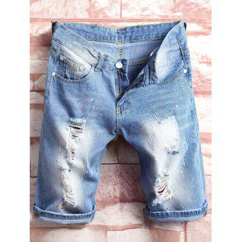 Paint Splatter Destroyed Denim Shorts