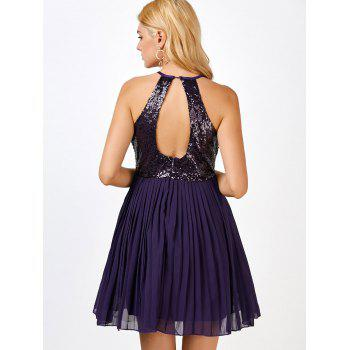 Sequin Pleated Skater Short Formal Dress - PURPLE XL
