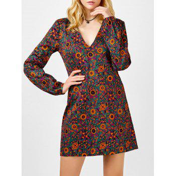 Floral Print Plunging Neck Mini Dress