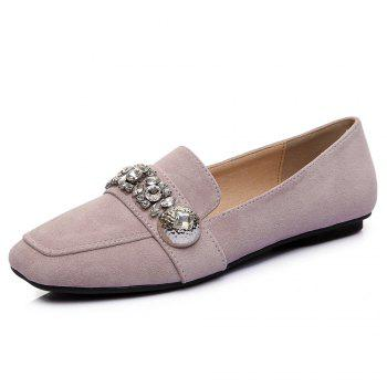 Rhinestones Square Toe Flat Shoes