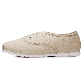 Canvas Eyelets Flat Shoes - OFF WHITE 39