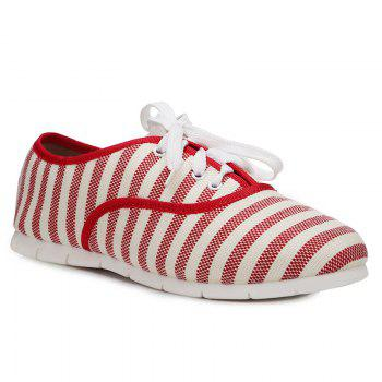 Striped Tie Up Flat Shoes