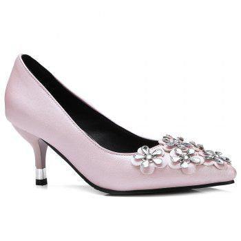 Rhinestones Flowers Faux Leather Pumps