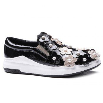Flowers Faux Pearls Platform Shoes - BLACK 39