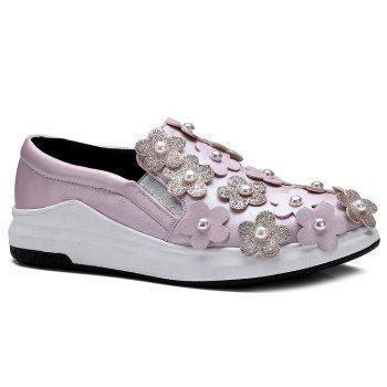 Flowers Faux Pearls Platform Shoes - PINK 38