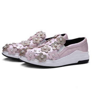 Flowers Faux Pearls Platform Shoes - 38 38
