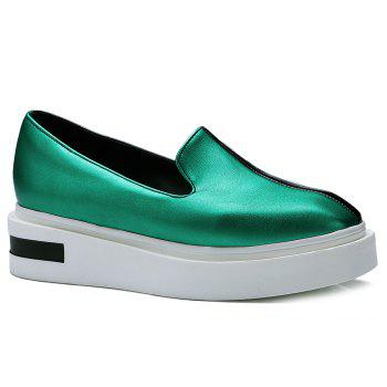 Square Toe Colour Block Platform Shoes - GREEN 37