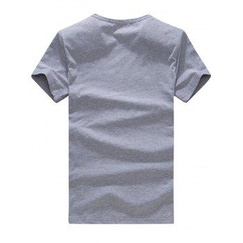 Short Sleeve Beard Print T-Shirt - GRAY GRAY
