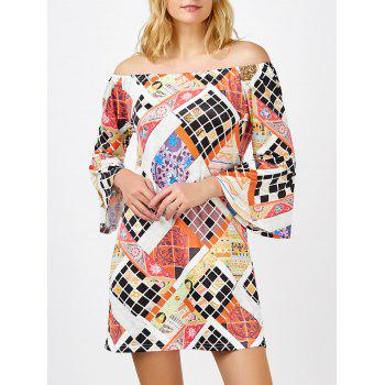 Sample Off The Shoulder Argyle Mini Shift Dress