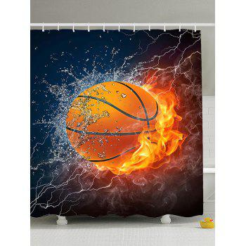3D Burny Basketball Polyester Fabric Shower Curtain