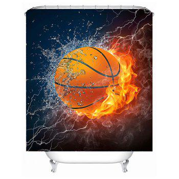 3D Burny Basketball Polyester Fabric Shower Curtain - COLORMIX 180*180CM