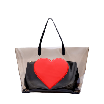 Transparent Heart Pattern Shopper Bag