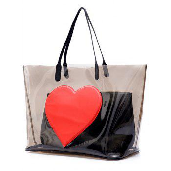 Transparent Heart Pattern Shopper Bag - TRANSPARENT GRAY