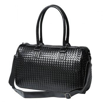 Faux Leather Woven Weekender Bag - BLACK BLACK