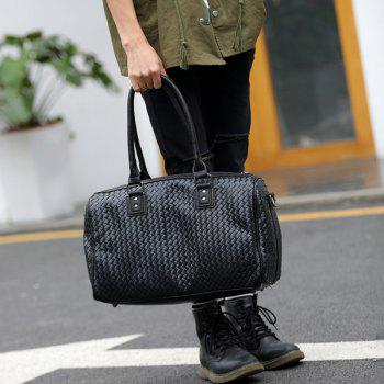 Faux Leather Woven Weekender Bag -  BLACK