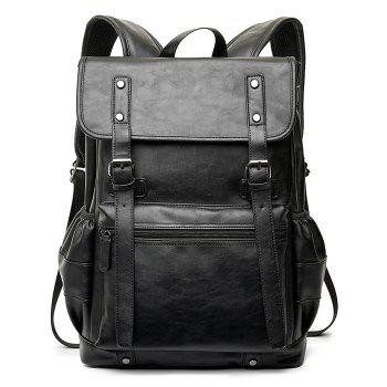 Faux Leather Dual Buckle Straps Backpack - BLACK BLACK