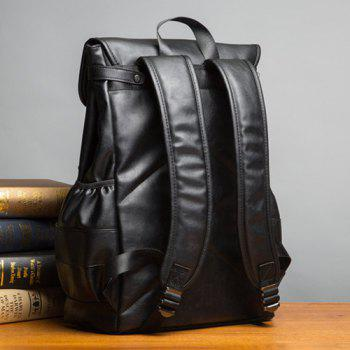 Faux Leather Dual Buckle Straps Backpack -  BLACK