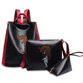 Faux Leather Cartoon Embriodered Backpack Set