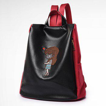Faux Leather Cartoon Embriodered Backpack Set - RED