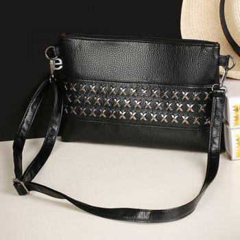 Faux Leather Criss Cross Clutch Bag