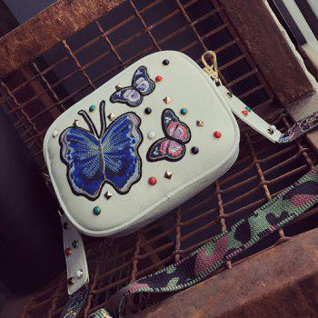 Butterfly Embroidered Rivet Crossbody Bag