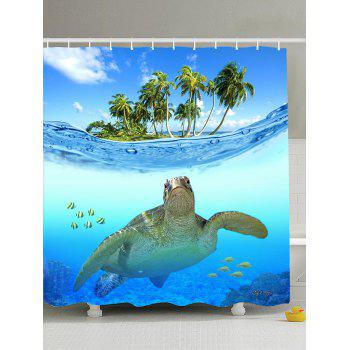 Beach Turtle Printing Shower Curtain with Hooks